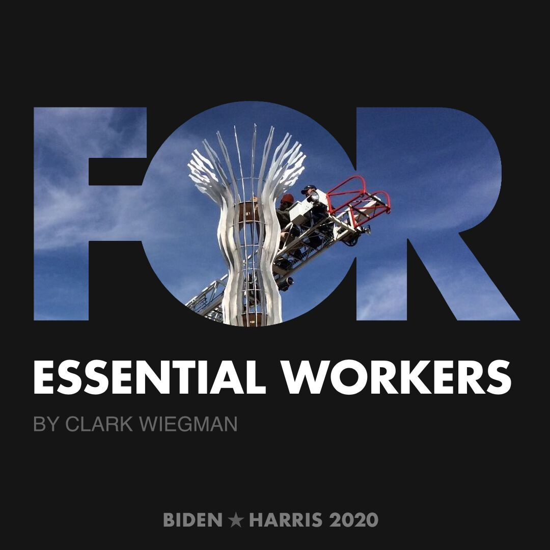 CreativesForBiden.org - Essential Workers artwork by Clark Wiegman