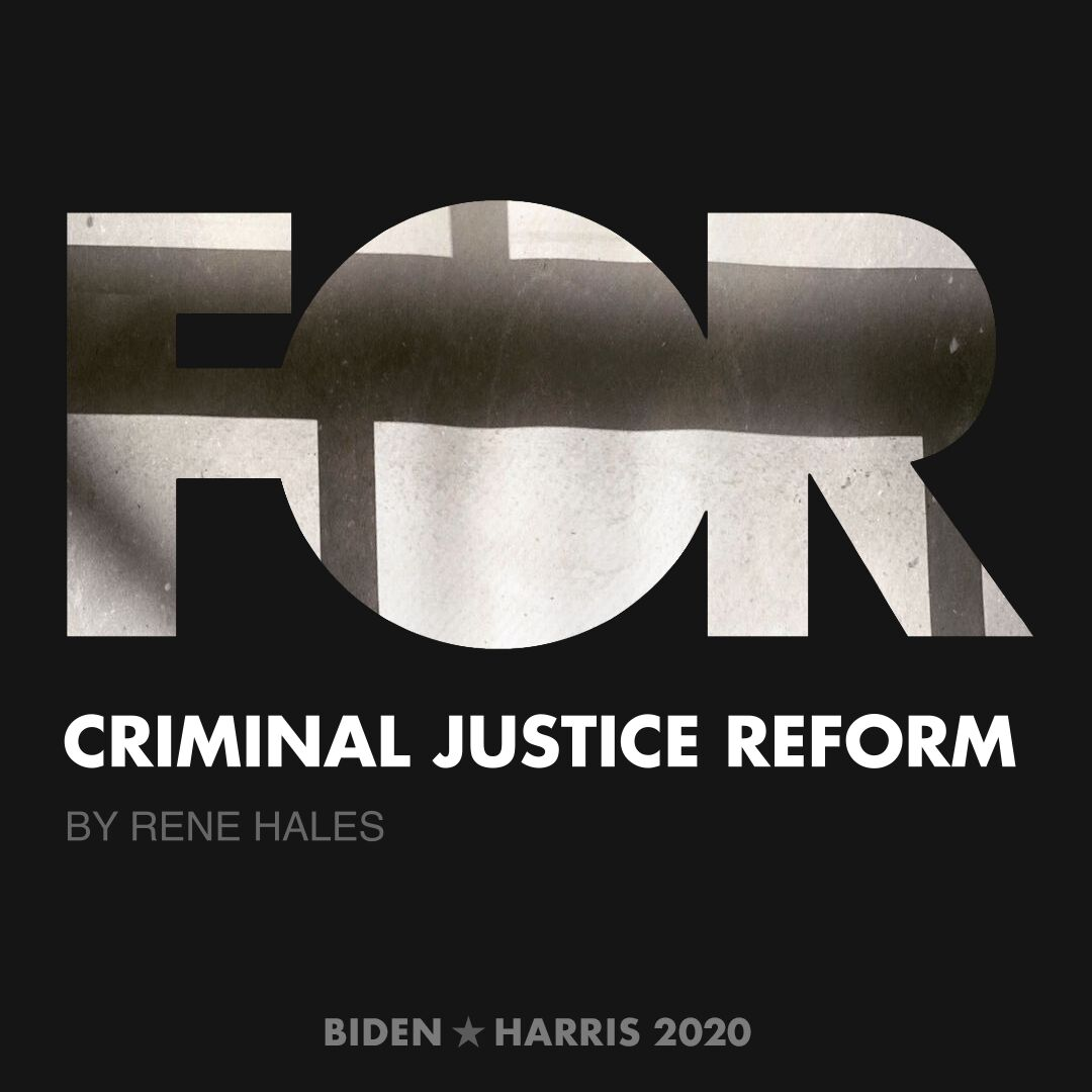 CreativesForBiden.org - Criminal Justice Reform artwork by Rene Hales