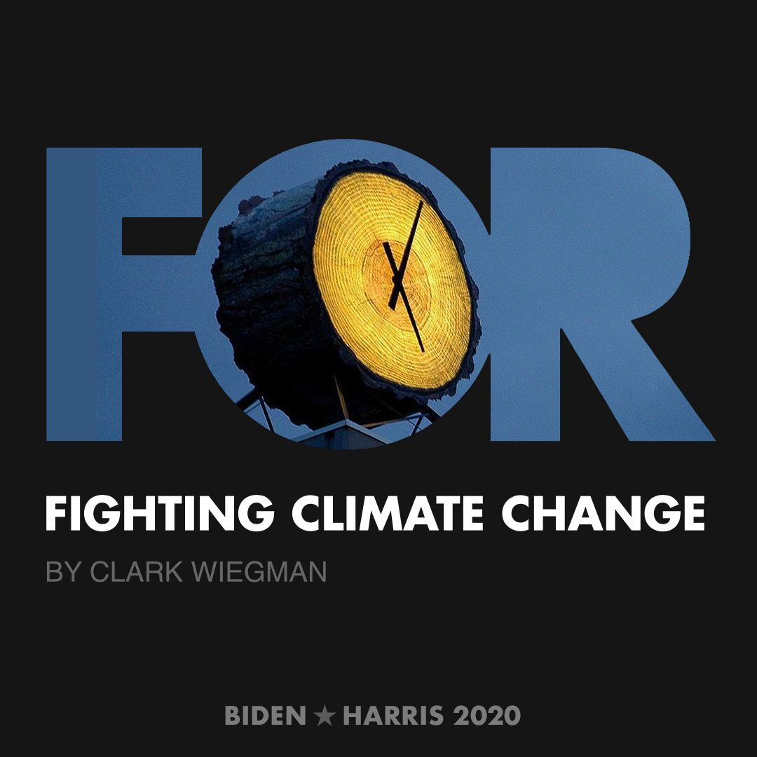 CreativesForBiden.org - Fighting Climate Change artwork by Clark Wiegman