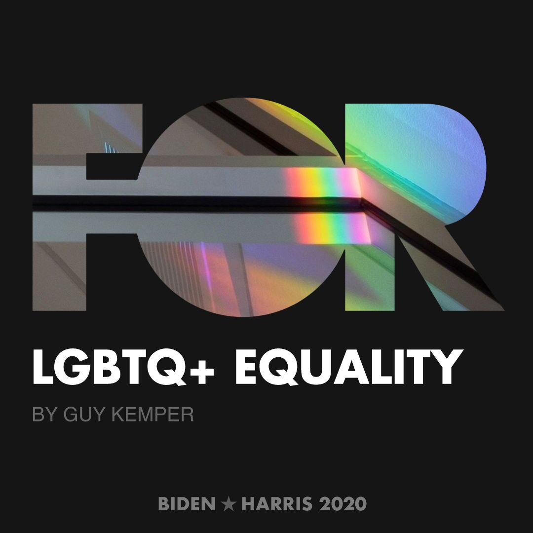 CreativesForBiden.org - LGBTQ+ Equality artwork by Guy Kemper