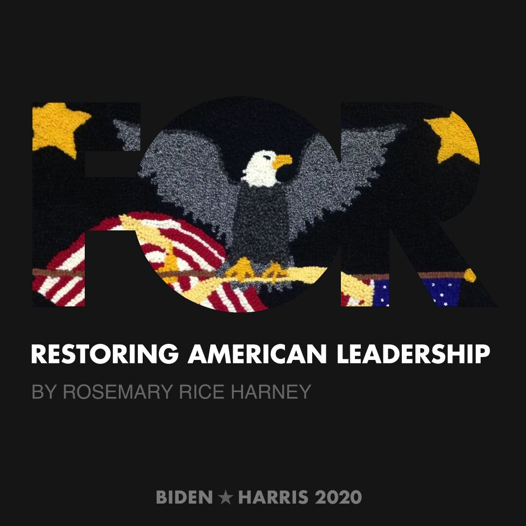 CreativesForBiden.org - Restoring American Leadership artwork by Rosemary Rice Harney