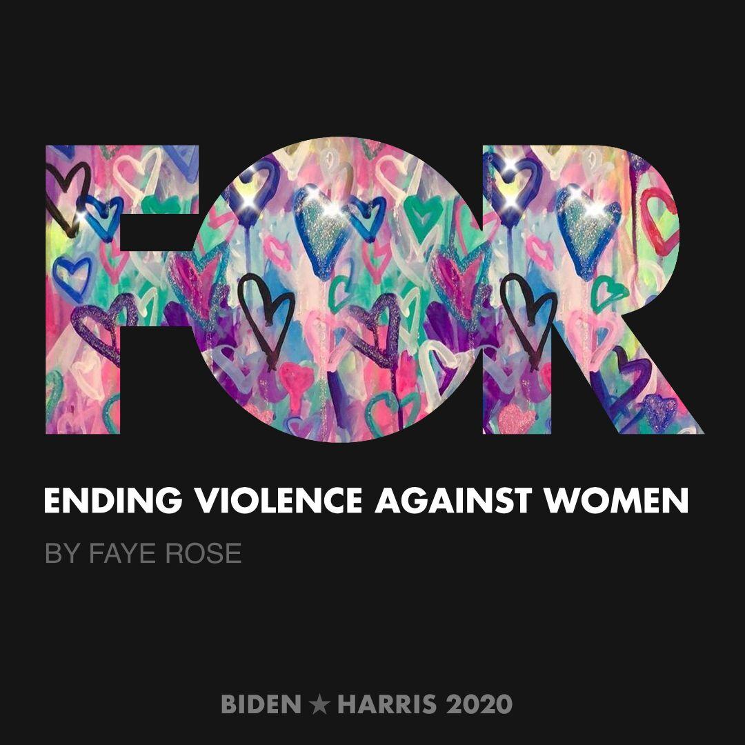 CreativesForBiden.org - Ending Violence Against Women artwork by Faye Rose